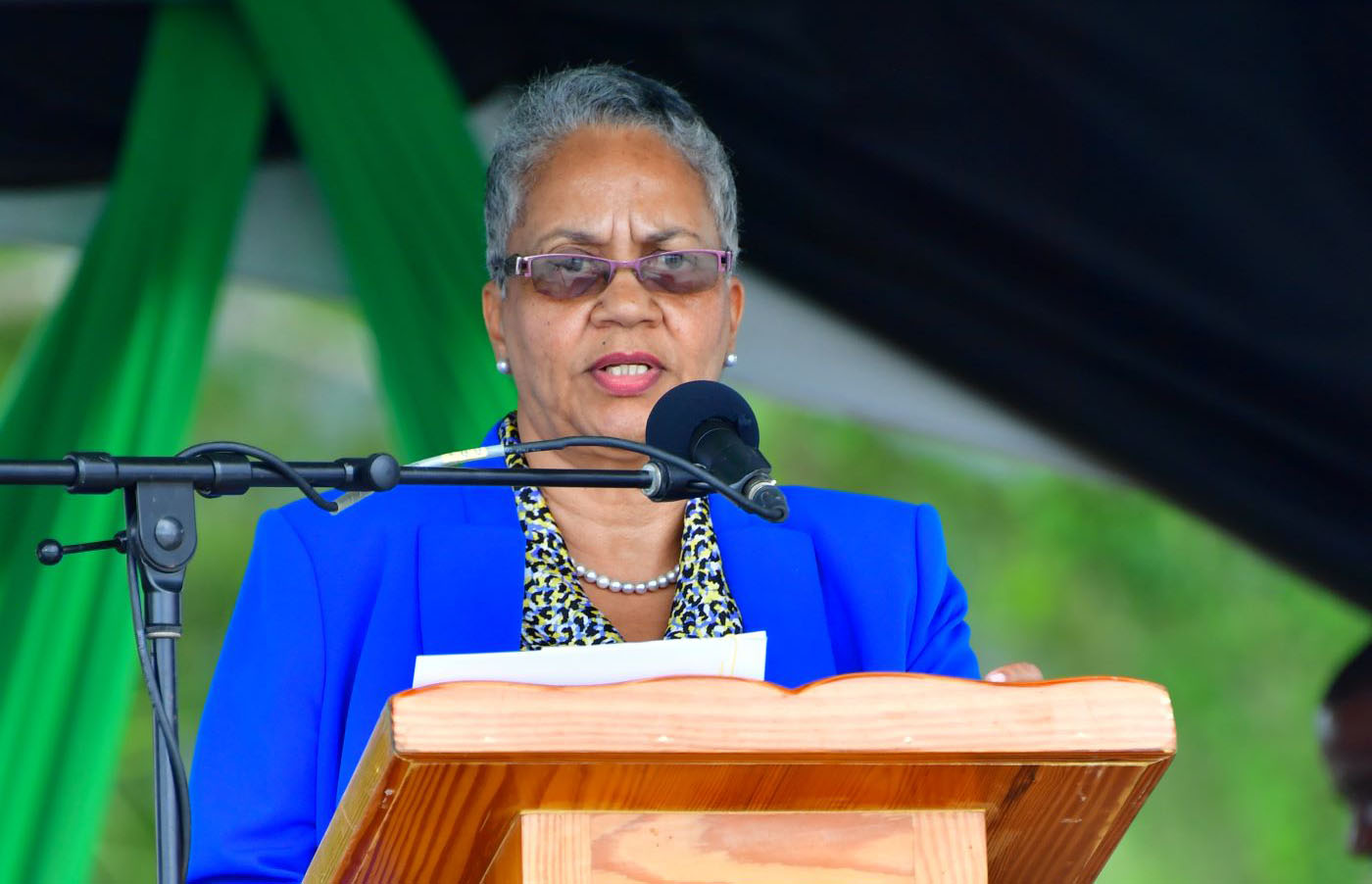 CDB Vice President Monica La Bennett speaking at the launch of the St. Vincent Geothermal Project