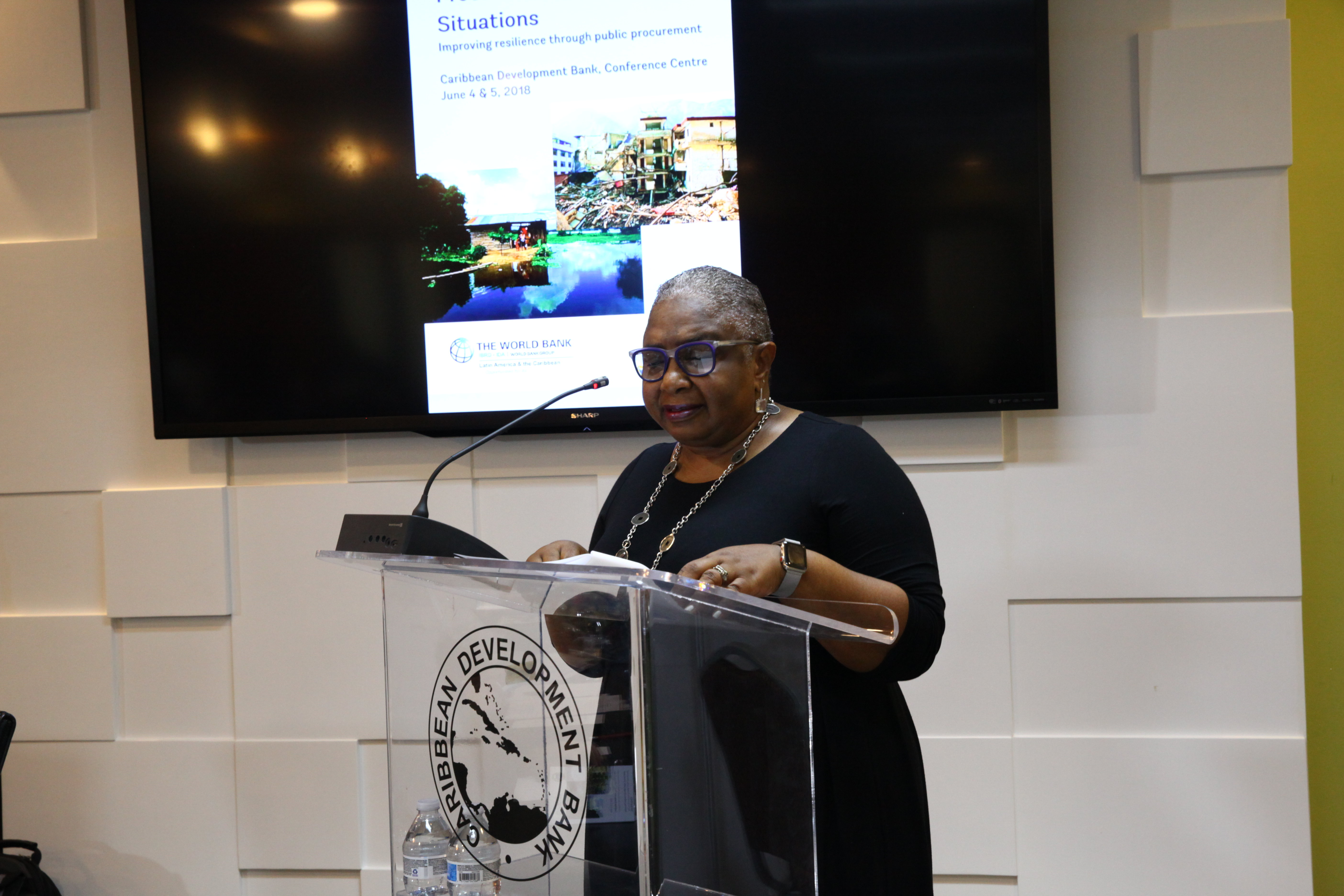 Cheryl Dixon, Coordinator, Environmental Sustainability Unit, CDB, stresses the importance of understanding procurement in emergency situations during her opening remarks.