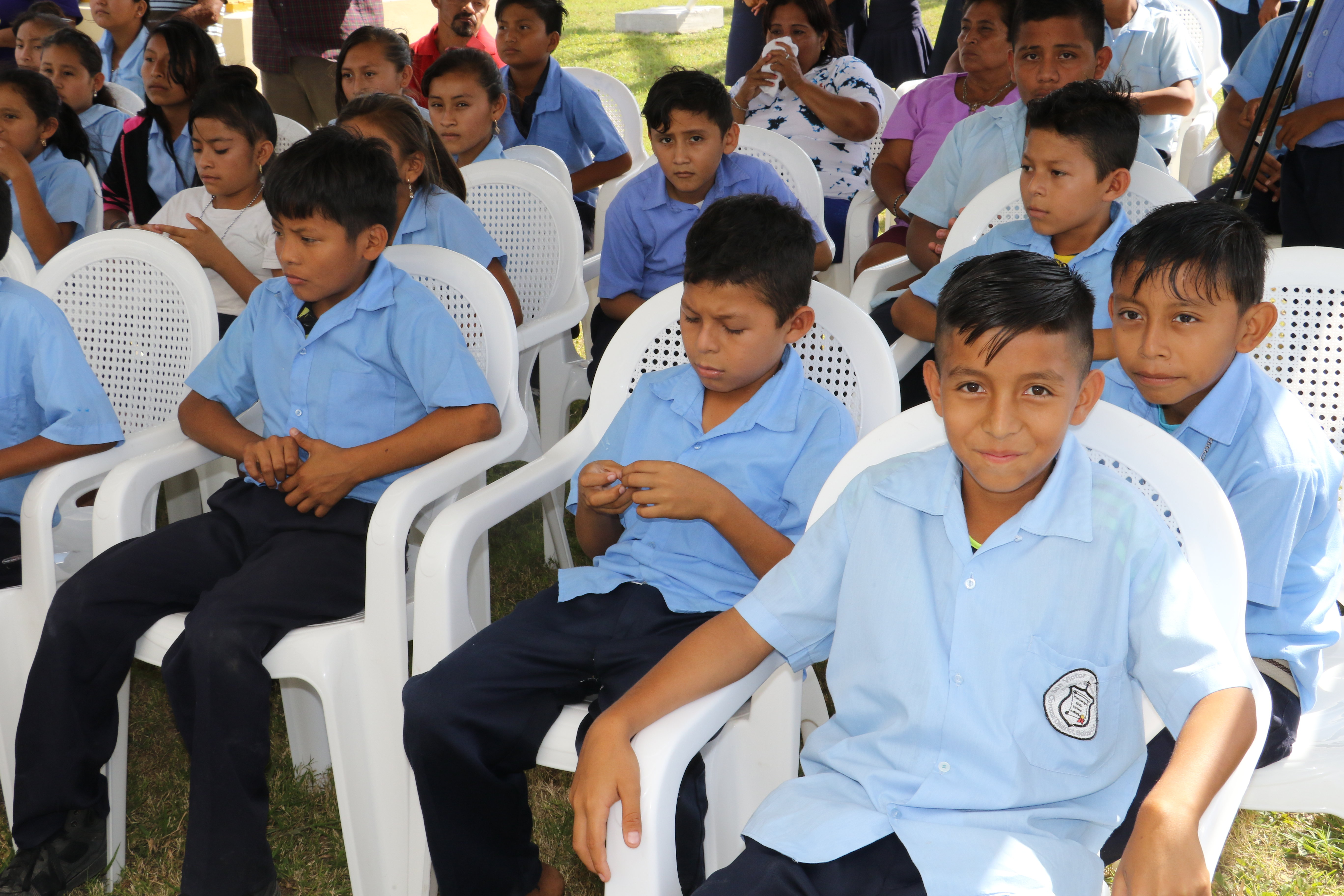 Students from the Village of San Victor attend the inauguration of the rehabilitated water system that will provide their school with access to safe water.