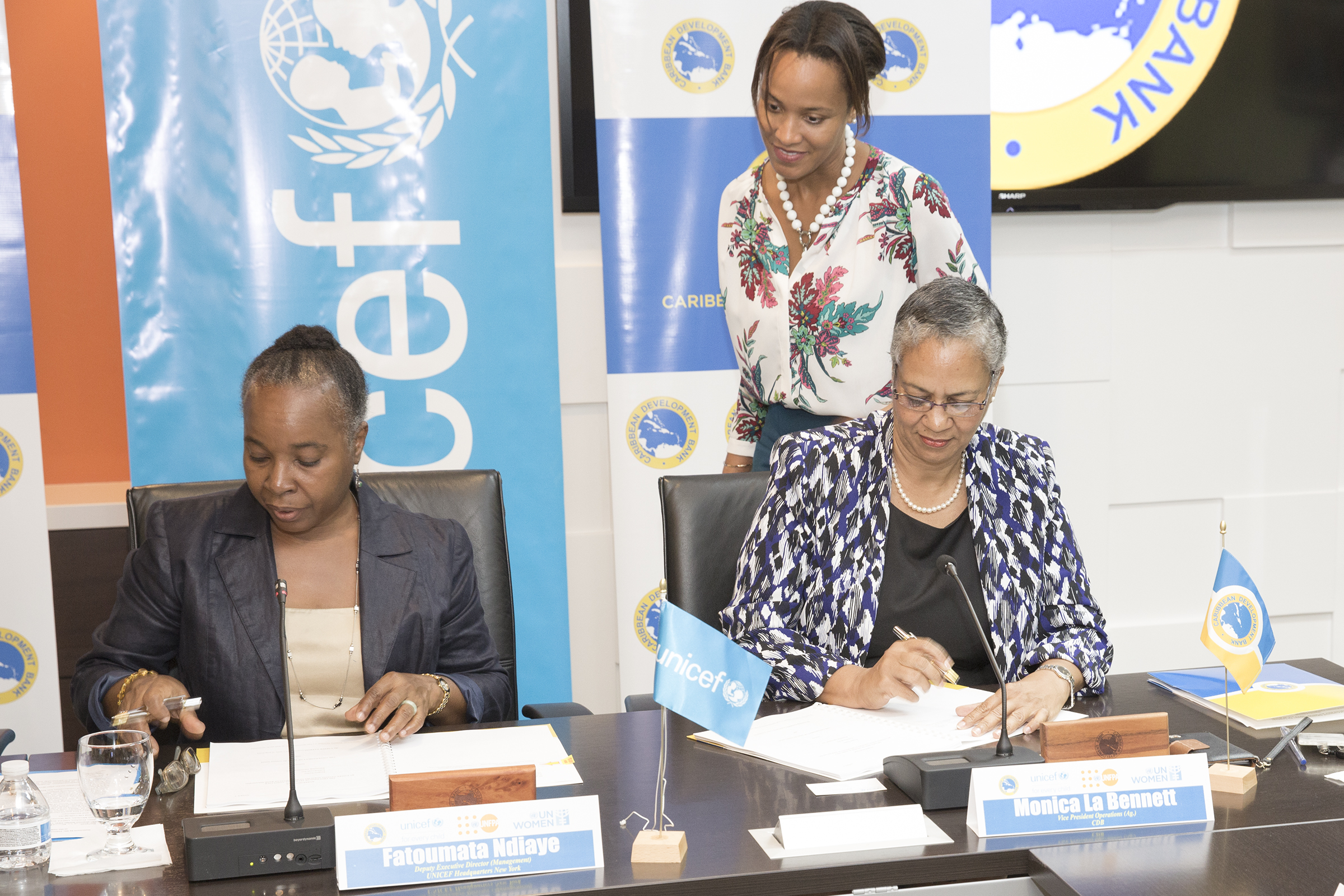 Fatoumata Ndiaye, Deputy Executive Director, UNICEF Headquarters, New York (left) and Monica La Bennett, Acting Vice-President (Operations), CDB (right).