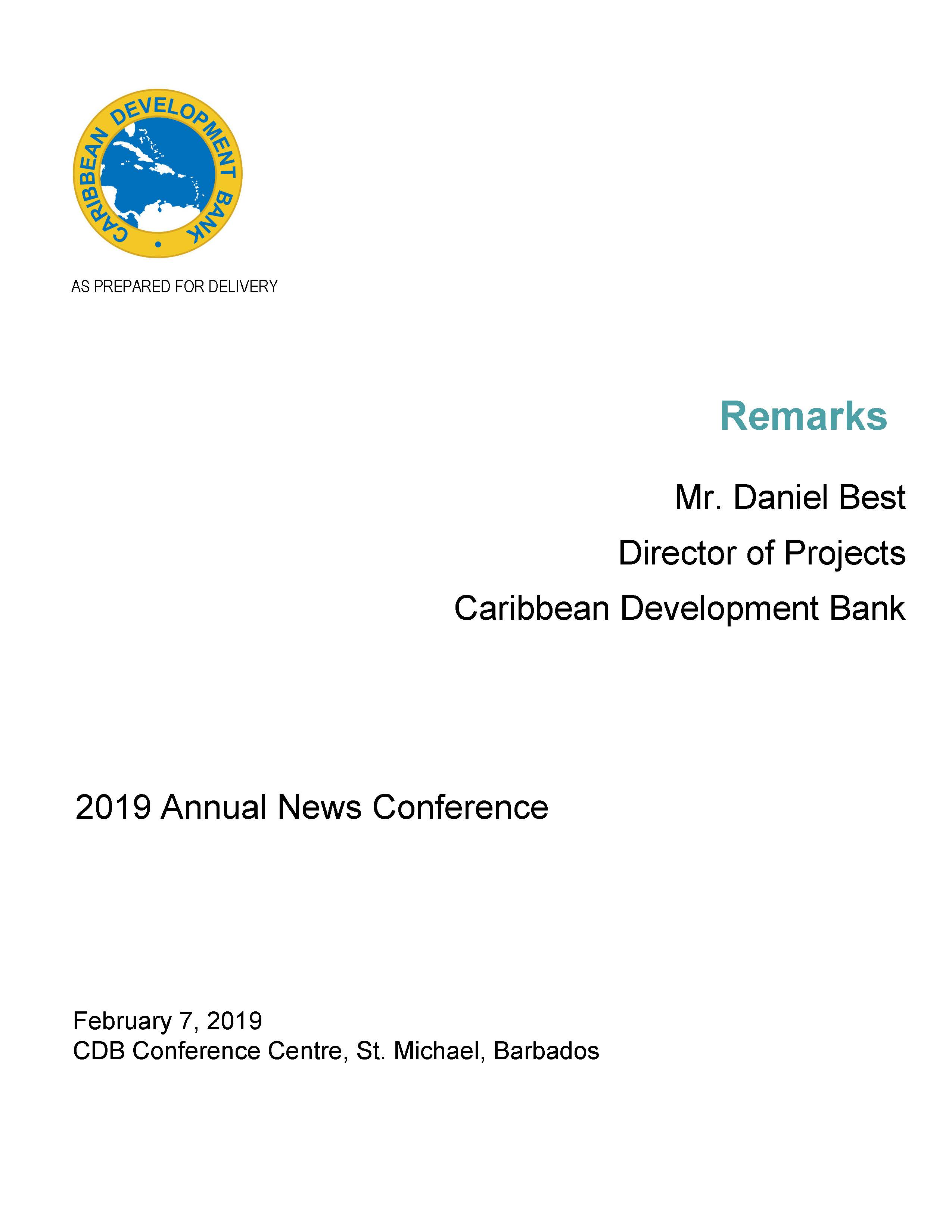text-based cover for speech delivered by Mr. Daniel Best