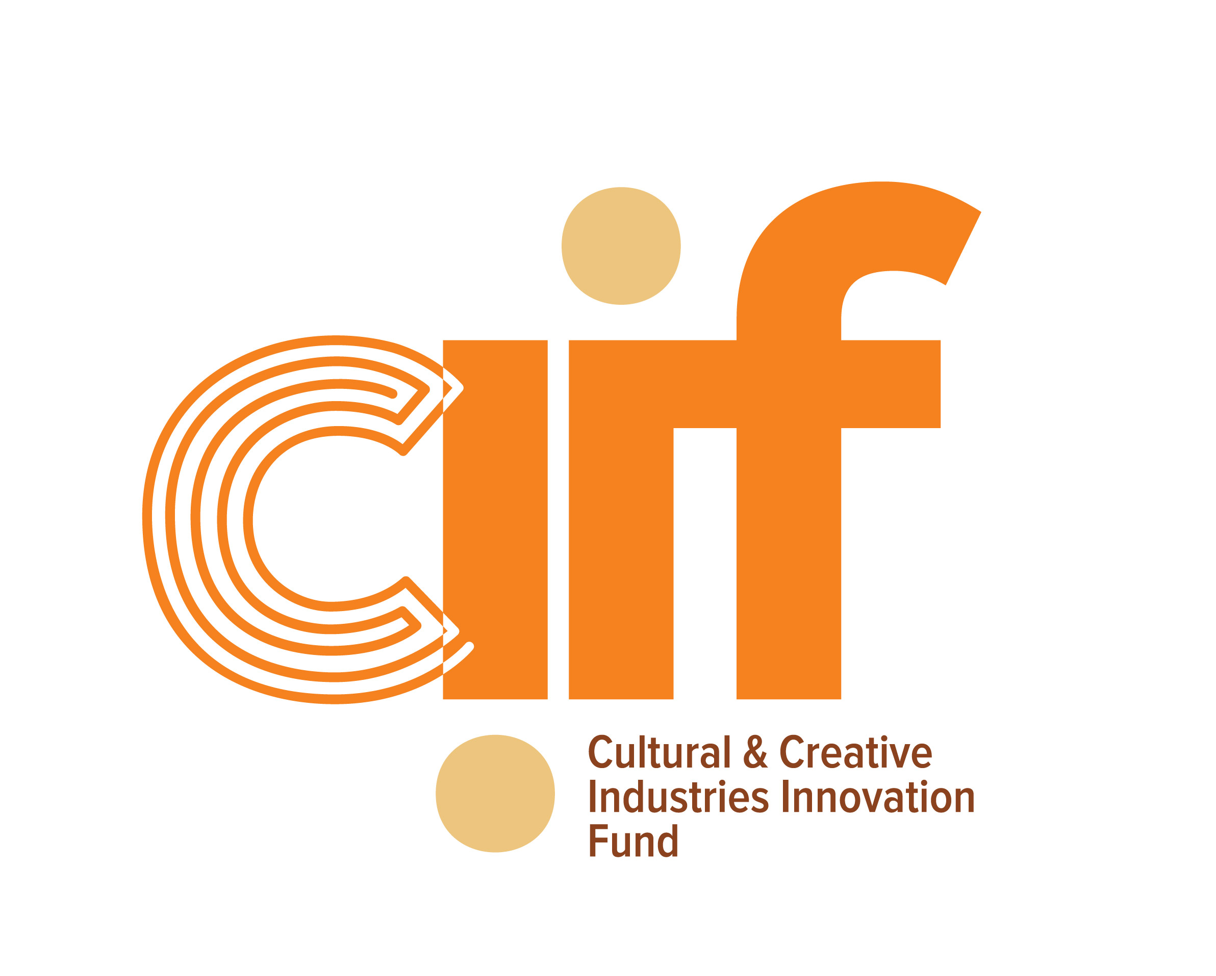 logo for the Cultural and Creative Industries Innovation Fund - lettering of acronym in orange with lines in letter C