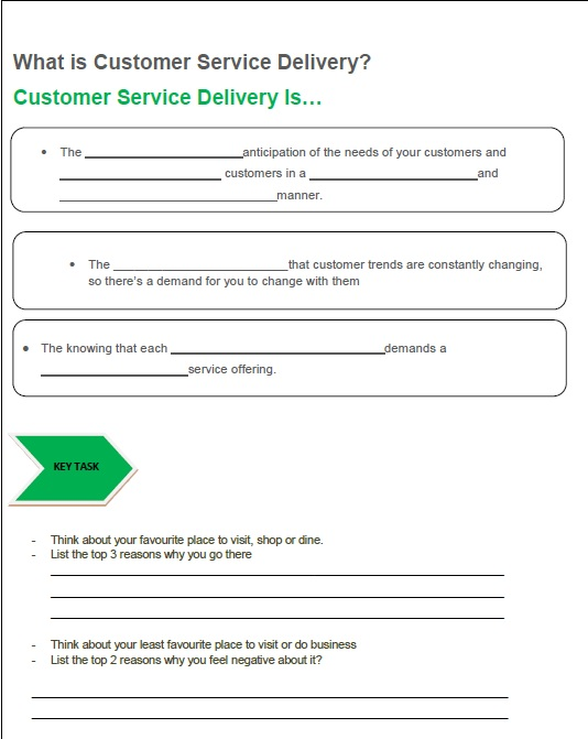 First main page of customer service manual