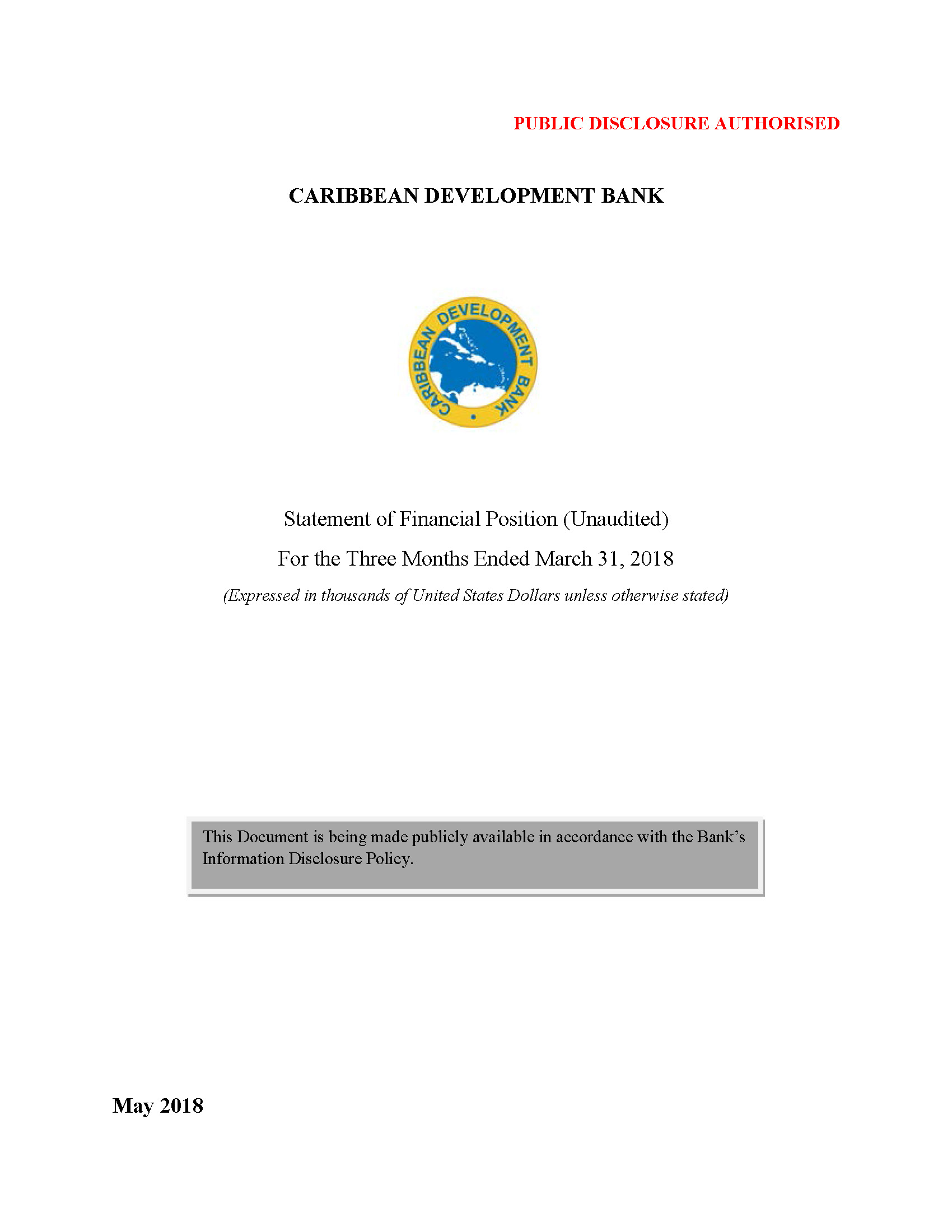 Text based cover featuring document title and CDB logo