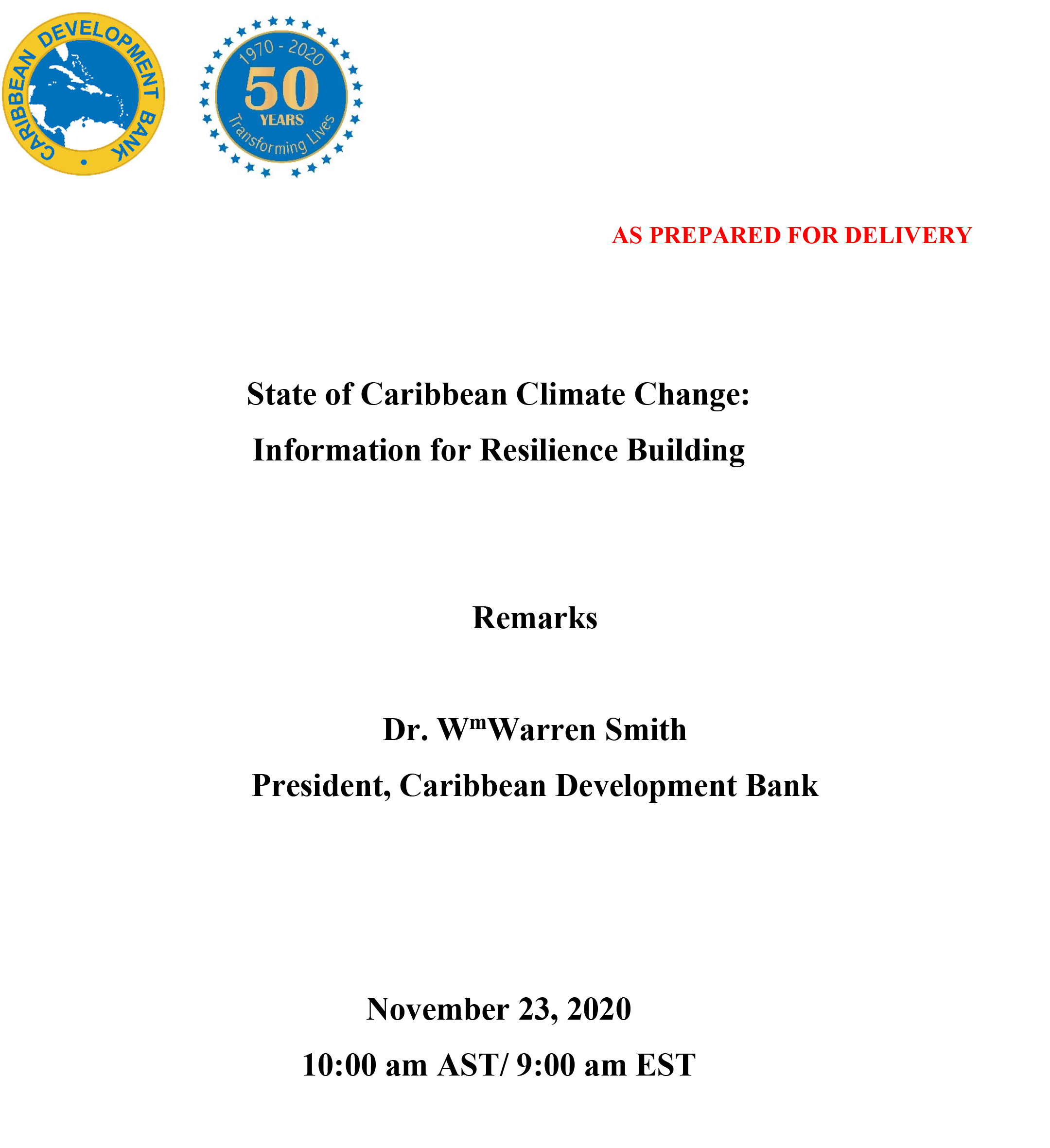 Cover of opening speech of CDB President, launch of the State of Caribbean Climate Change