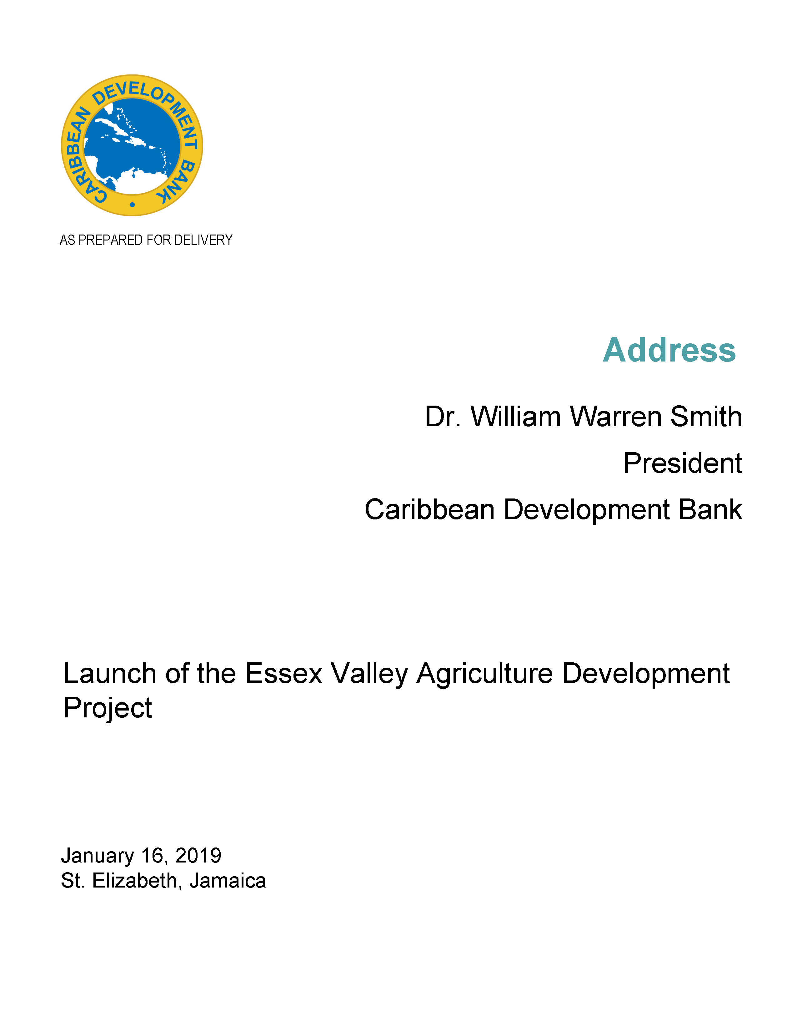 text-based cover against white backdrop of speech delivered by CDB President, Dr. Smith at the launch of the Essex Valley Agriculture Development Project