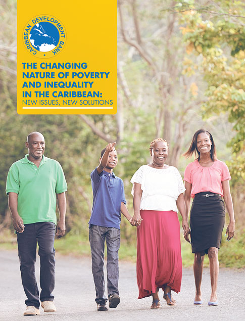 The Changing Nature of Poverty and Inequality in the Caribbean: New Issues, New Solutions title with four adults walking in wooded park