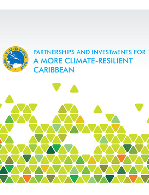 Partnerships and Investments for a More Climate-Resilient Caribbean title with variety of small, colored triangles below