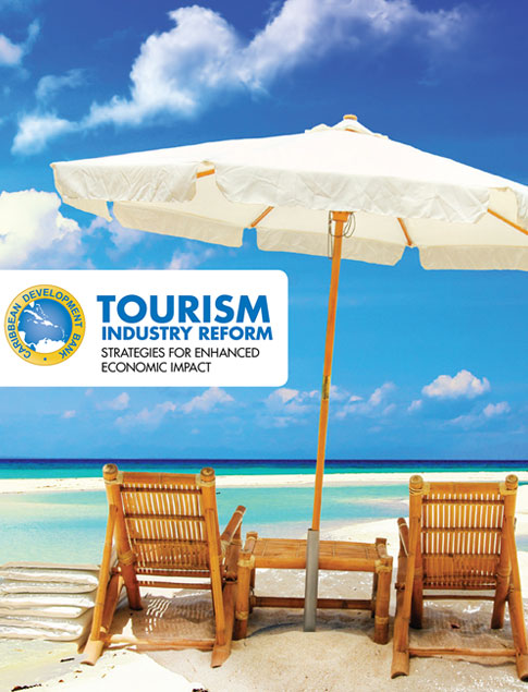 Tourism Industry Reform: Strategies for Enhanced Economic Impact title above a photo of beach with two chairs and an umbrella