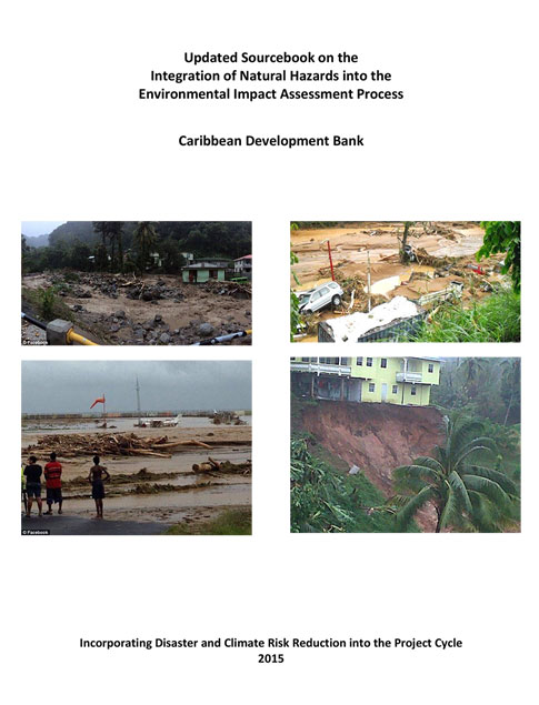 Updated Sourcebook- Integration of Natural Hazards into the EIA Process title with four images of the aftermath of natural hazards