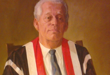 Painting of Sir Alister McIntyre in UWI Vice Chancellor robe.