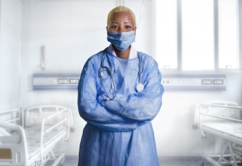 Medical worker with personal protective equipment