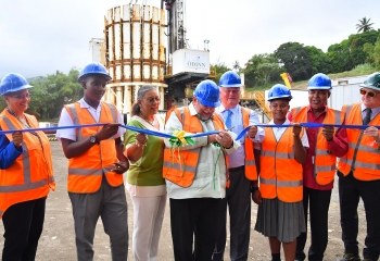 Group, including CDB Vice-President Monica La Bennett cut ribbon on drilling site led by St. Vincent and the Grenadines Prime Minister Dr Ralph Gonsalves