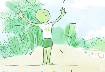Green illustrated man standing on beach with arms outstretched