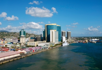 View of Port of Spain Trinidad waterfront