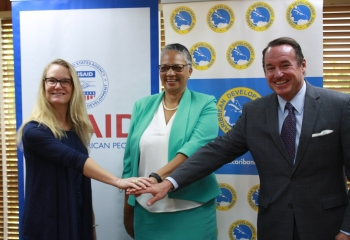 (L - R) Julia Henn, USAID Acting Mission Director; Monica La Bennett, CDB Vice-President (Operations); Joaquin Monserrate, Chargé d'Affaires, US Embassy in Barbados, the Eastern Caribbean and the OECS