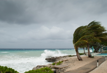 Caribbean beach with storm approaching